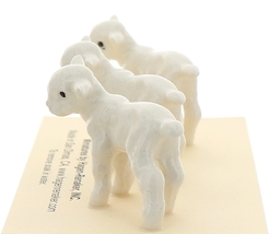Hagen-Renaker Miniature Ceramic Lamb Figurine Baby White Set of 3