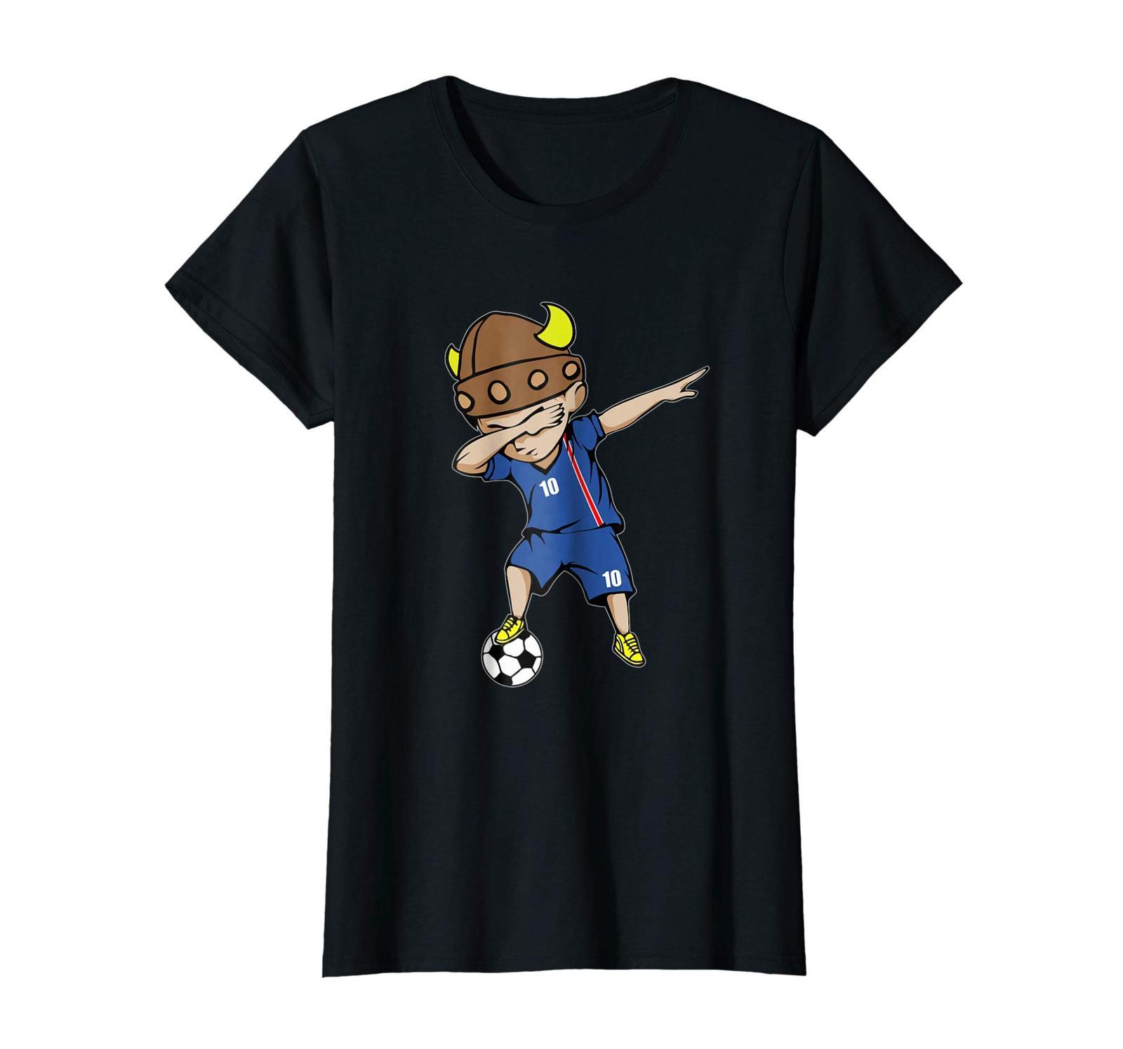 Sport Shirts - Dabbing Soccer Boy Iceland Jersey T-Shirt - Number 10 Tees Wowen