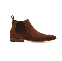 Handmade Men's Leather Chelsea Brown Ankle High Suede Leather Shoes - $159.99+