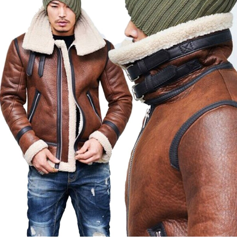 Primary image for Men's Winter Fashion Vintage Faux Leather Bomber Coat Fur Lined Jacket