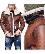 Men's Winter Fashion Vintage Faux Leather Bomber Coat Fur Lined Jacket  - $66.10