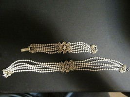 Vintage Signed FLORENZA Choker Necklace & Matching Bracelet-White & Gold... - $54.95