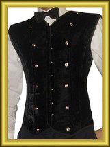BLACK Velvet Men corset  Steel Bone High Durable corset - $94.99