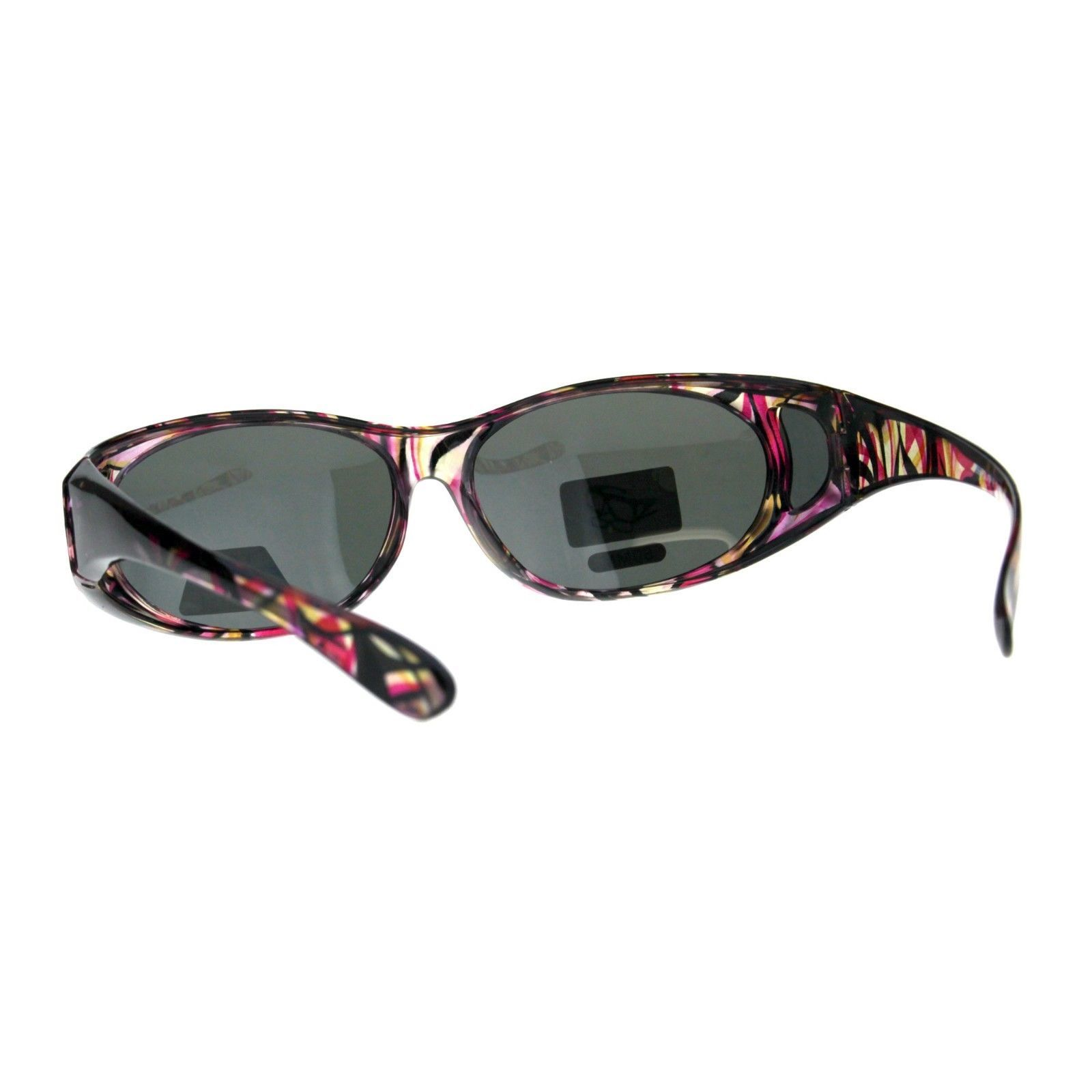 Polarized Lens Fit Over Glasses Sunglasses Womens Oval Frame Color Print