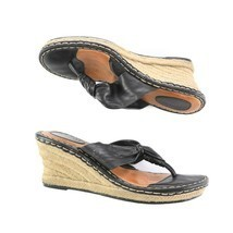 Born Black Leather Thong Style Espadrilles Wedge Sandals Shoes Womens 9 SN W3582 - $34.53