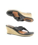 Born Black Leather Thong Style Espadrilles Wedge Sandals Shoes Womens 9 ... - £24.56 GBP