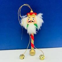 Christmas ornament 1980s wood holiday vintage mcm Nutcracker head pole G... - $11.83