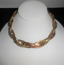 Carl Art Necklace 12K Gold Filled Rose & Yellow Oval Link Two Tone Vintage  - $52.25