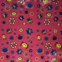Lisa Frank Vintage 90s Mini Happy Face Smile Flowers Complete Sticker Sheet S757 image 2