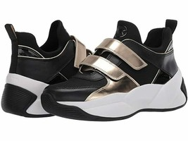 ❤️NIB Michael Kors Keeley Trainer Shoes black gold Leather Snakers - $89.00