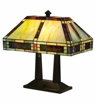 Bankers Desk Lamp w Tiffany Mission Style Stained Glass Lamp Shade - $742.50