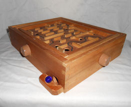 Wooden Labyrinth 24 Hole Maze Board Game, Blue Marble - $17.95
