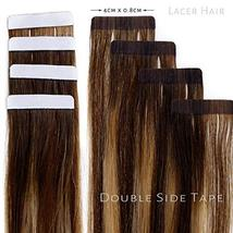 Lacerhair Tape in Balayage Natural Hair Extensions Straight Chocolate Brown to S image 3