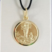 SOLID 18K YELLOW GOLD OUR MARY LADY OF THE GUARD 13 MM ROUND MEDAL MADE IN ITALY image 1