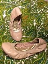 Dexflex Comfort Women's ~ Beige~ Patent Cap Toe Ballet Flats Scrunchy ~9M Shoes - $24.74