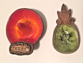 Vtg Treasure Craft Ceramic Set o 2 Sm Souvenir Dishes Texas Sombrero & P... - $10.99