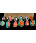 Turquoise Spiny Oyster Sterling Silver Rings HANDMADE IN USA One-of-a-Kind - $300.00