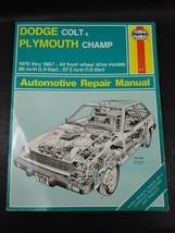 Haynes Repair Manual Dodge Colt & Plymouth Champ 1978-1987 1986 1985 1984 1983 - $5.14