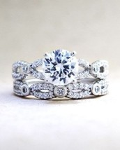 Certified 2.90Ct Round White VVS1 Diamond Engagement Ring Set in 14K Whi... - $271.76
