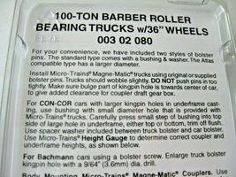 "Micro-Trains Stock #00302080 Barber Roller Bearing Trucks 100-Ton 36"" Wheels (N) image 3"