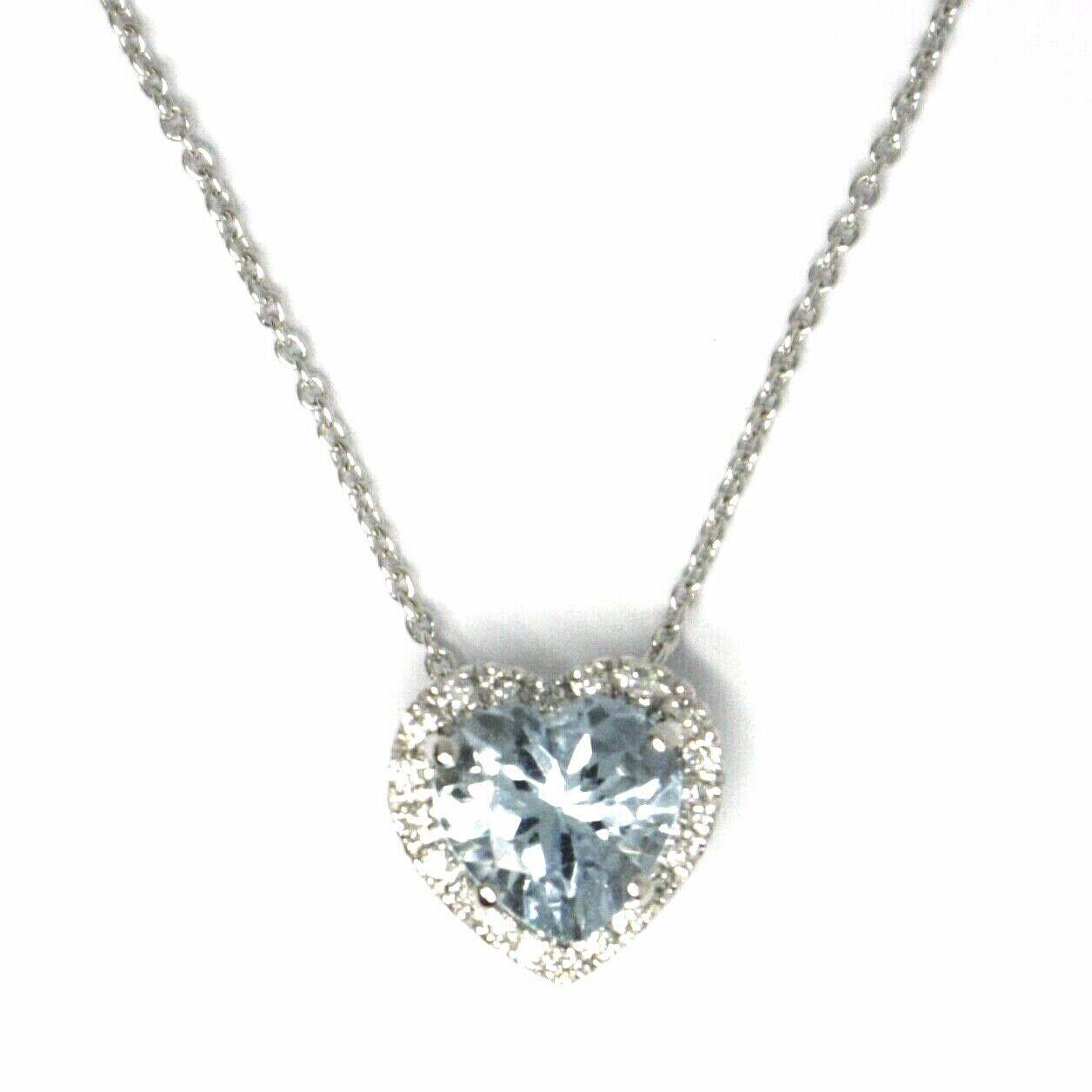 18K WHITE GOLD NECKLACE LOVE HEART PENDANT AQUAMARINE DIAMONDS FRAME ROLO CHAIN