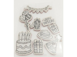 Happy Birthday Rubber Cling Stamp Set
