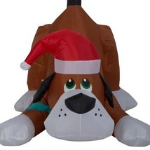 Airblown Inflatable Playful Puppy Dog wIth Santa Hat by Gemmy image 2