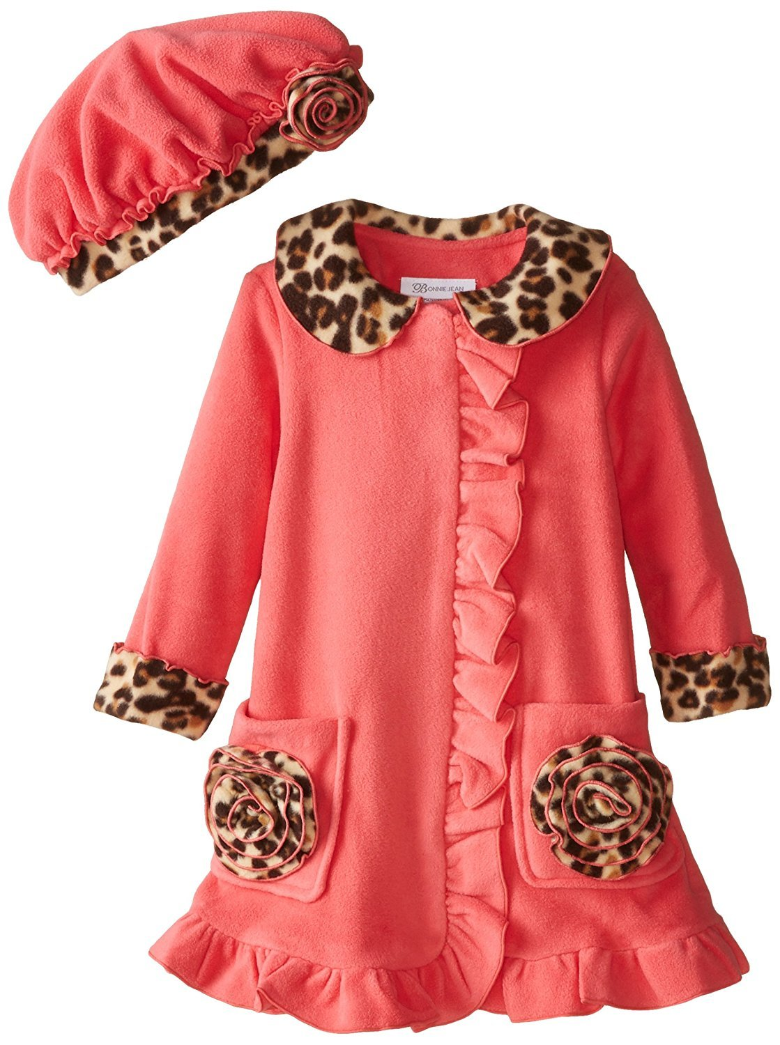 Bonnie Jean Little Girls 2T-4T Coral Bonaz Rosette Pocket Fleece Coat/Hat Set