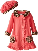 Bonnie Jean Little Girls 2T-4T Coral Bonaz Rosette Pocket Fleece Coat/Hat Set image 1