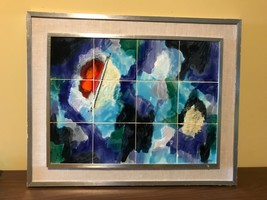 Mid Century Harris Strong 12 tile Framed Wall Art. Abstract. - $1,188.00
