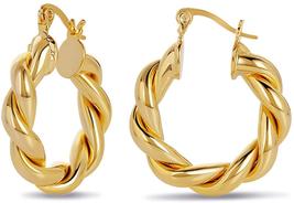 Twisted Chunky Hoop Earrings 14K Gold Plated Dainty Lightweight Hypoalle... - $21.89