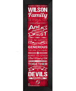 "Personalized New Jersey Devils ""Family Cheer"" 24 x 8 Framed Print - $39.95"