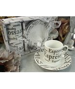 Espresso Print Demitasse Cups Coffee Lover's Gift Set - $21.32