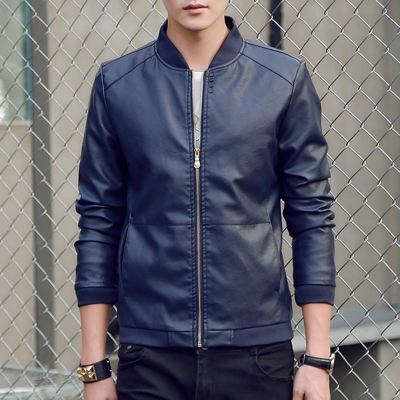 2018 New Fashion Autumn and Winter Men's Slim Fit PU Leather Stand Collar Jacket