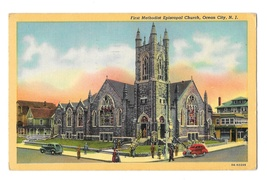 NJ Ocean City First Methodist Episcopal Church Vintage LInen Postcard - $4.99
