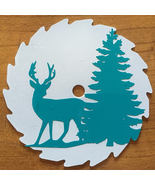 Deer and Tree Mini Round Sawblade, Turquoise Decal on White, 3in Fridge Magnet - $12.50