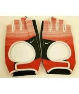 New Nike Womens Large Training Half-Finger Gloves Red/Black/White Weight... - $21.56