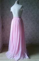 Pink Maxi High Split Tulle Skirt Pink Polka Dot One Side Split Tulle Tutu Skirt  image 3