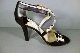 Jimmy Choo 36 Pioneer Leopard Print Canvas Dark Brown Leather Sandals Shoes NEW image 8