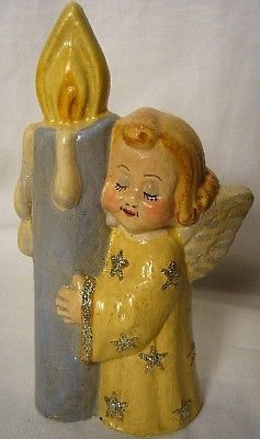Vaillancourt Folk Art Angel with Candle personally signed by Judi!