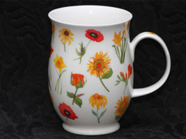 DUNOON FLORA Eleanor Mug SET/2 MADE IN ENGLAND FINE BONE CHINA FLORAL MU... - $39.50