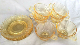 Vintage Fostoria Baroque Topaz Depression Glass Cups and Saucers (1937-1943) - $36.00