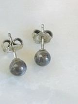 Vintage Sterling Silver Marked Simple Round Bead Post Earrings for Pierced Ears - $13.99