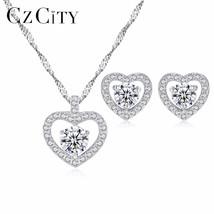 CZCITY Genuine 925 Sterling Silver Jewelry Set Heart Shape Vintage Style... - $39.15