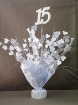 "2 Metallic White 15th Birthday or Anniversary Balloon Weights 15"" Tall - $9.85"