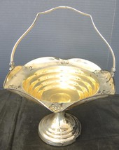 Antique Victorian Era Silver Plate Handled Flower Basket Unmarked - $7.48