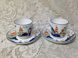 Antique Royal Worcester England Variant Gaudy Blue Willow 2Sets Demi Cup-Saucer - $94.95