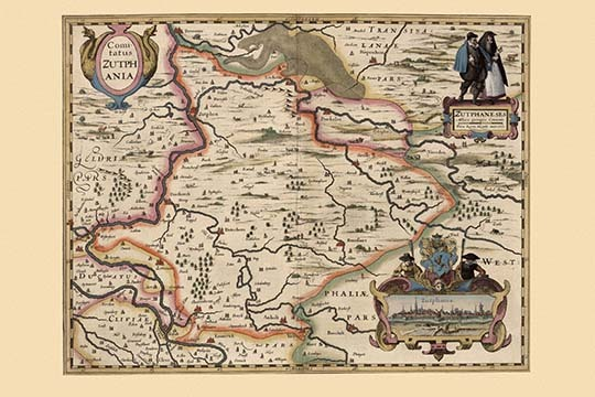 Primary image for Map of the area around Zutphanis, Netherlands by Pieter Van der Keere - Art Prin