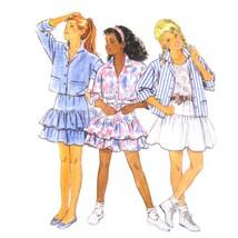 1980s Vtg Butterick Sewing Pattern 6264 Girls Top Shirt Skirt Ruffles 7 ... - $6.95