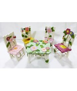 Delton Collectibles dolls wooden floral table 4 chairs picnic set, butte... - $33.60